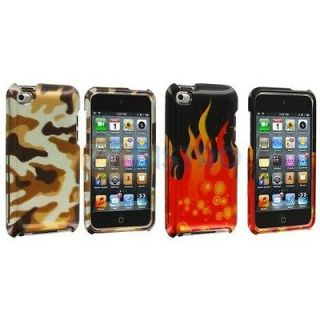 Camouflage+Red Flame Case Cover Accessories For iPod Touch 4th Gen 4G