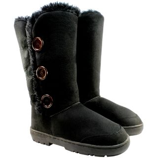 WOMENS TRIPLET BUTTON FUR LINED WATERPROOF WINTER SNOW BOOTS 4 COLOURS