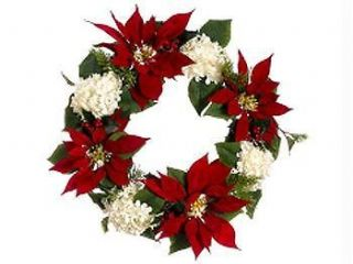 Poinsettia And White Hydrangea Holly 22 Artificial Christmas Wreath