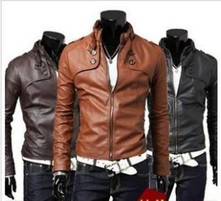 Mens Designed PU Leather Short Slim Fit Top Jacket Coat Outerwear