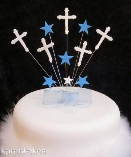 CHRISTENING/FI RST HOLY COMMUNION CAKE TOPPER BLUE