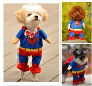 Pet Cat Dog Puppy Cotton Clothes Costumes Superman Suit S M L XL 4size