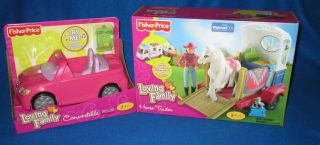 FISHER PRICE LOVING FAMILY HORSE TRAILER & PINK CONVERTIBLE NEW