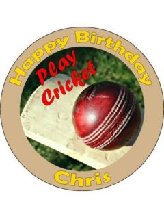 Cricket Bat And Ball Personalised Edible Cake Topper.