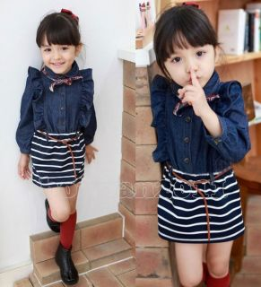 New Kids Toddlers Girls Jean Princess Long Sleeve Skirt Dress Scarf