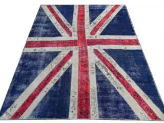 Union Jack Patchwork Rug Made from Distressed Overdyed Vintage