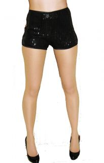 HIGH WAISTED BLACK SEQUIN SHORTS HOT PANTS GOING OUT CLUBBING DRESS