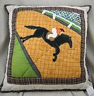 Handmade Quilted Race horse with Jockey Theme Pillow F