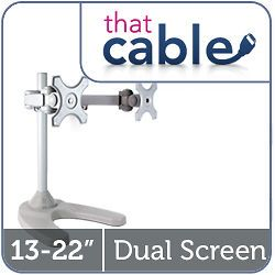 TWIN LCD DUAL TV MONITOR DESK STAND 15 17 19 20 22