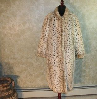 SPORTOWNE Reversible Leopard Faux Fur / Trench Coat Jacket 16 L
