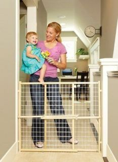 Extra Wide Tall Pressure Mount Wood Wire Mesh Dog Pet Gate NS4615