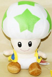 GREEN TOAD~SUPER MARIO BROS~TOY~6~QU ALITY PLUSH DOLL~GIFT~NWT
