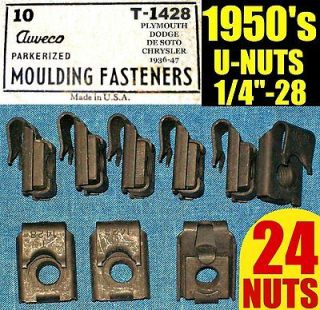 24 NOS AUVECO OLD U NUTS 1950s 50s FENDER, MOLDING TRIM NUT 1/4 28
