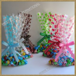 25pcs 5x8 Polka Dot gift bag + Pre tied ribbon bow for wedding
