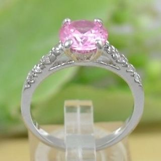 Fashion jewelry 2ct CZ Unique Pink Round Crystal Promise Wedding