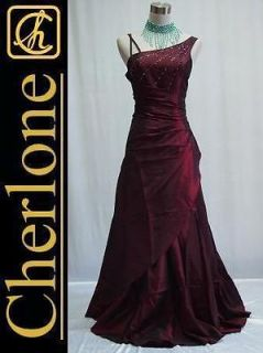 Cherlone Satin Burgundy Long One Shoulder Ball Gown Wedding/Evening