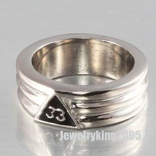 8MM Stainless Steel Mens 33rd Degree FreeMason Mason Ring size 8  13