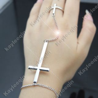 Chic Polish Silver Double Cross Bracelet Chain Link Hand Harness Ring