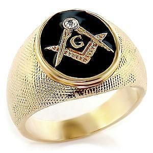 GOLD EP CUBIC ZIRCONIA BLACK MASONIC MENS RING SIZE 8,9,10,11,12,1 3