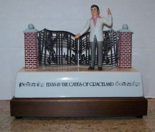ELVIS PRESLEY GATES OF GRACELAND MUSICAL DECANTER BY MCCORMICK 1986 IN