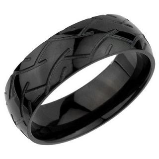 Black Tire Tread Pattern Stainless Steel Band Ring tr018 8mm Width
