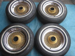 15 Dayton Wire Rims Wheels Tires Chrome Gold