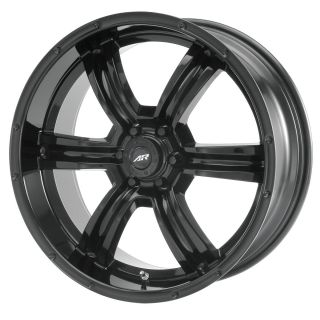 Racing Trench AR320 6 Lug Black Wheels 4 New FREE Caps Lugs Stems