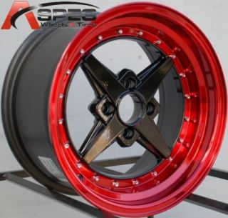 Rota Zero Plus 15x8 4x100 ET10 Black Red Rims Wheels