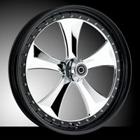 Custom Wheel Set 21 Front 18 Rear Black Chrome Rims for Harley