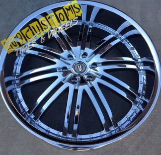 24 inch Versante Rims Wheels Tires VW212 Chrome 24x9 5 5x115 Dodge
