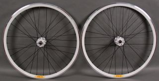 Deep V Track Bike Fixed Gear Wheels Black White Machined Rims 32h
