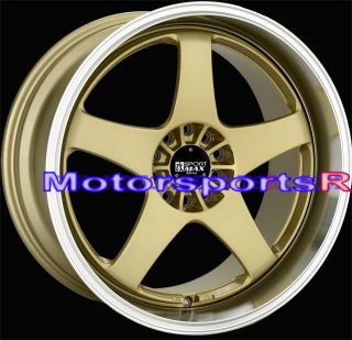 Gold Machine Lip Staggered Rims Wheels 5x114 3 08 Infiniti G37 Coupe