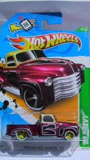 Hot Wheels 2012 52 Chevy Pick Up Custom Chrome Wheels Rubber Tires New