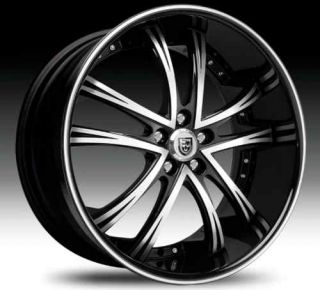 55 Staggered Wheel Set Black Machined Black Lip 22x11 22x9 Rims