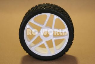 RC 1 8 CAR BUGGY TRUCK TIRES WHEELS RIMS PACKAGE WHITE 5 STAR STREET