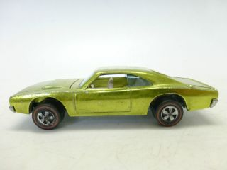 69 VINTAGE LIME YELLOW CUSTOM CHARGER Mattel Hot Wheels Redline