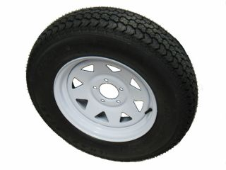 Trailer Tire 14x5 5 5 Bolt White Spoke Wheel Rim camper Boat