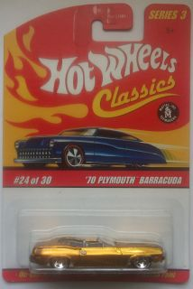Hot Wheels Classics Series 3 70 Plymouth Barracuda 24 30 Gold Version