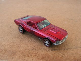 1967 DTD Hot Wheels Custom Mustang Red Red Line Car