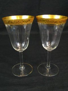 Antique 6 75 Tiffin Gold Rim Wine Glasses Cystal Water Goblets