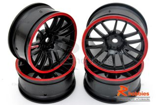 Racing Touring DRIFT Car 14 Spoke Sporty Wheels Rims 4p Red Black