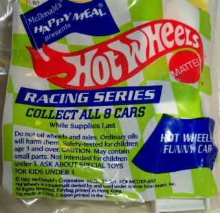 1992 McDonalds Hot Wheels Racing Series Hot Wheels Funny Car