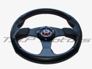 RS Type Steering Wheel Black with Red Stitching H