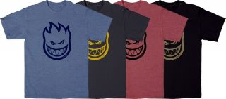 Spitfire Wheels Bighead Tee Black Blue Charcoal Red Cotton Skateboard