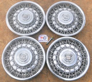 1975 85 CADILLAC ELDORADO SEVILLE FLEETWOOD WIRE WHEEL COVERS HUBCAPS