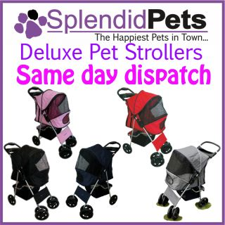 Big 4 Wheel Pet Dog Cat Stroller Puppy Pram Pushchair Pink Blue Black