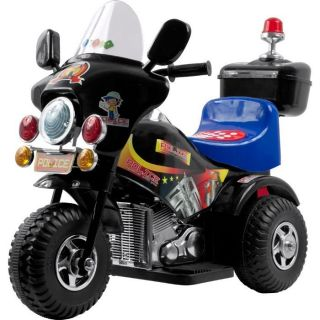 Chopper Kids Ride On Black Motorcycle Battery Power 3 Wheels Bike