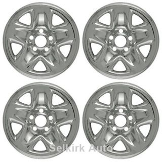 New Set Chrome Wheel Skins Hub Cap Cover w Center for 15x6 inch 5 Lug