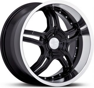 18 inch Ruff Racing 930 Staggered Black Wheels 5x4 5