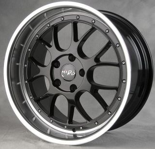 19 Miro 368 Staggered Wheels 5x120 Black Polish Lip Rims Set E39 E60